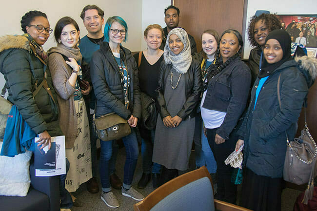 Avivo staff and program participants meet with Representative Ilhan Omar during Second Chance Day on the Hill.